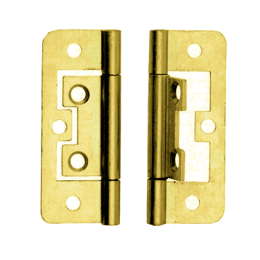 50mm (2'') Brass Plated Flush Hinge Pair (DX40506)