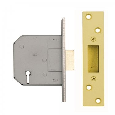 63mm (2.5'') 5 Lever Mortice Dead Lock, Polished Electro Brass (DH002095)