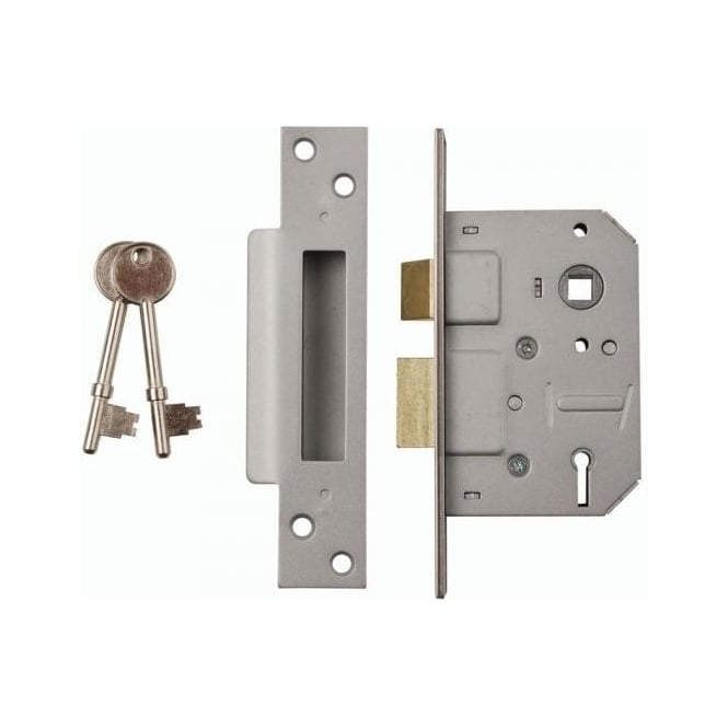 Dale Hardware 63mm Nickel Plated 5 Lever Mortice Sash Lock