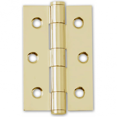 "75mm (3"") Button Tipped Hinge Pair, Polished Electro Brass (HST.75.EB.BT)"