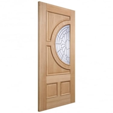 Adoorable Empress Unfinished External Oak Door with Zinc Clear Bevelled Double Glass