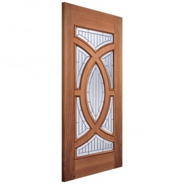 Adoorable Majestic Unfinished External Hardwood Door with Zinc Clear Bevelled Double Glass