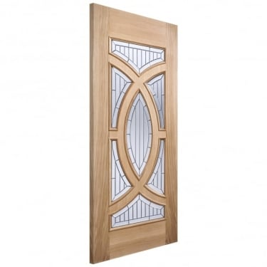 Adoorable Majestic Unfinished External Oak Door with Zinc Clear Bevelled Double Glass