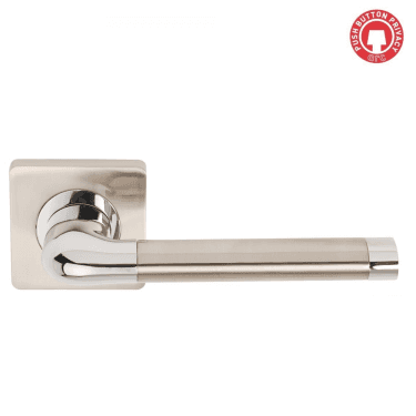 Argo Polished Chrome/Satin Nickel Privacy Lever On Square Rose (DH003670-SQ-PRV)