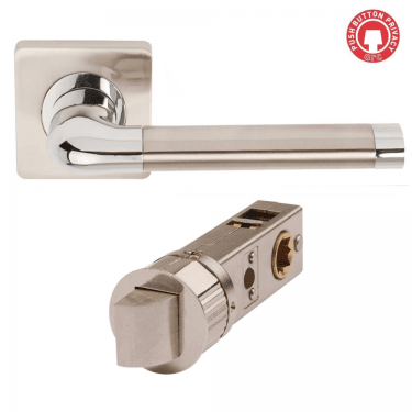 Argo Polished Chrome/Satin Nickel Smart Privacy Lever on Square Rose (DH003670-SMART-SQ-PRV)