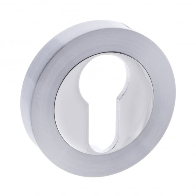 Atlantic Handles Status Euro Escutcheon On Round Rose - Satin Chrome/Polished Chrome (S3ESCERSCPC)