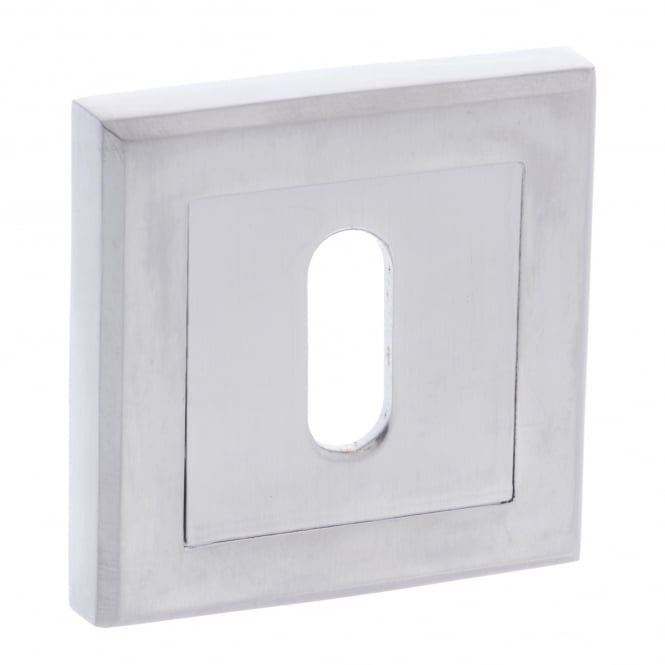 Atlantic Handles Status Key Escutcheon On Square Rose - Satin Chrome (S2ESCKSSC)