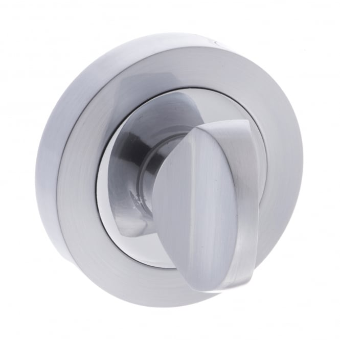 Atlantic Handles Status WC Turn and Release On Round Rose - Satin Chrome/Polished Chrome (S3WCRSCPC)