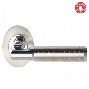 Aura Polished Chrome/Satin Nickel Privacy Lever On Round Rose (DH003620-PRV)