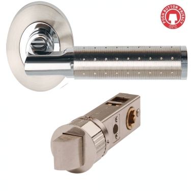 Aura Polished Chrome/Satin Nickel Smart Privacy Lever on Round Rose (DH003620-SMART-PRV)