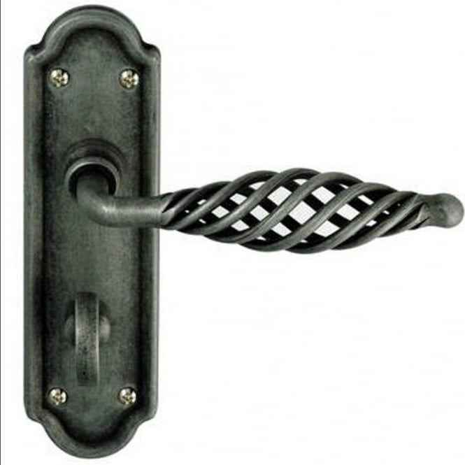 Frelan Hardware Cage IRC4000B Pewter Bathroom Lever On Backplate Handle