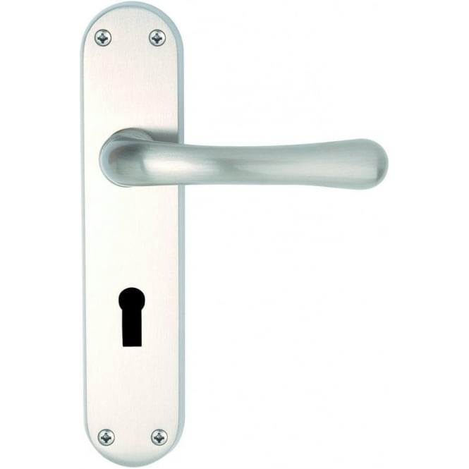 Dale Hardware Clara Suite Satin Nickel Lever Lock On Backplate (Pair)