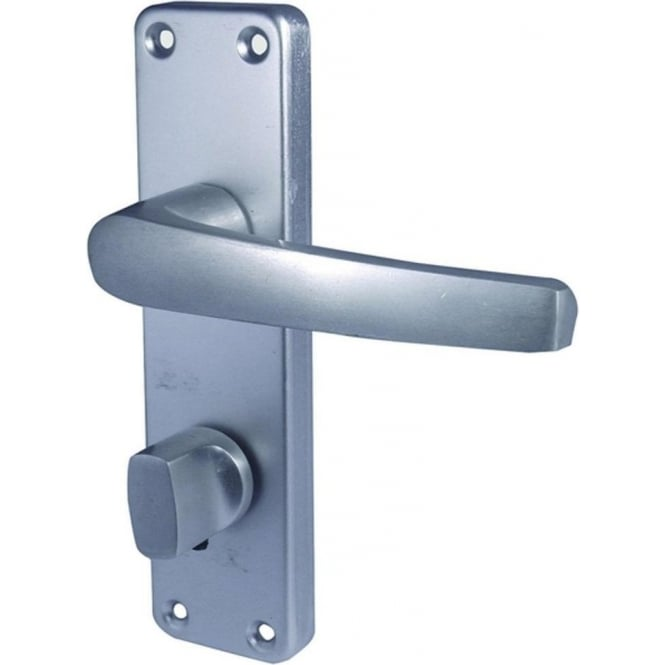 Frelan Hardware Contract J5601B Satin Anodised Aluminium Bathroom Lock On Long Backplate Handle