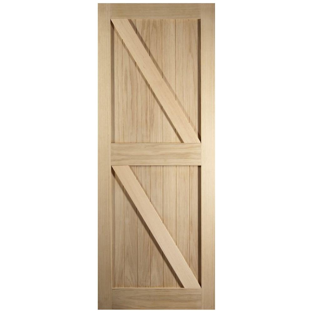 Cottage style framed ledged and braced unfinished internal oak door
