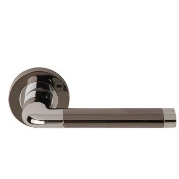 Dale Hardware Argo Polished Chrome/Black Nickel Lever On Round Rose Handle