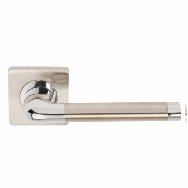 Argo Satin Nickel/Polished Chrome Lever On Square Rose Handle (DH003670)