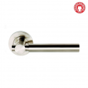 Astro Satin Nickel Lever On Round Rose Handle (DH003610) - Privacy Handle (Pair)
