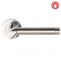 Callisto Polished Chrome/Satin Chrome Lever On Round Rose Handle (DH003665) - Privacy Handle (Pair)