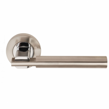 Chronos Satin Nickel/Polished Chrome Lever On Round Rose Handle (DH003655)