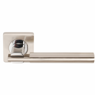 Chronos Satin Nickel/Polished Chrome Lever On Square Rose Handle (DH003655)
