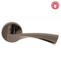 Flex Black Nickel Lever On Round Rose Handle (DH003540) - Privacy Handle (Pair)