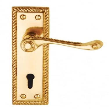 Georgian Suite Polished Brass Contract Lever On Backplate Handle