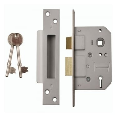 Nickel Plated 5 Lever Mortice Sash Lock