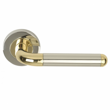 Orbit Polished Chrome/Polished Electro Brass Lever On Round Rose Handle (DH003630)