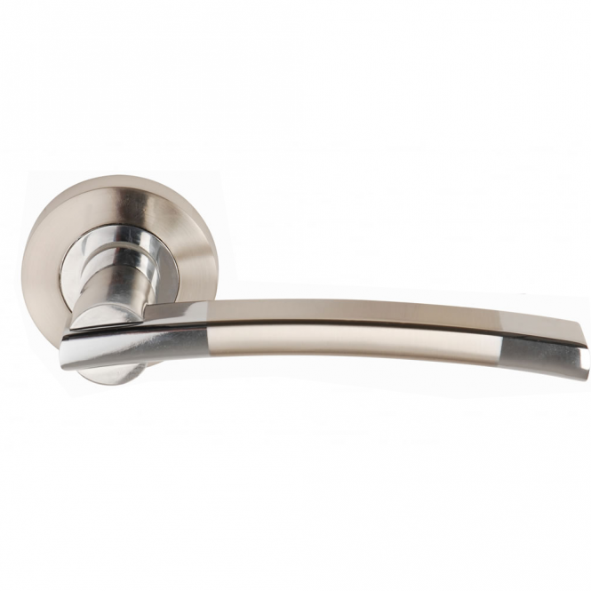 Dale Hardware Orpheus Polished Chrome/Satin Nickel Lever On Round Rose Handle