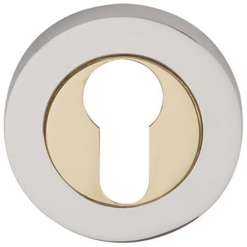 Dale Hardware Polished Chrome/Polished Electro Brass Round Euro Escutcheon (Pair) (DH003633)