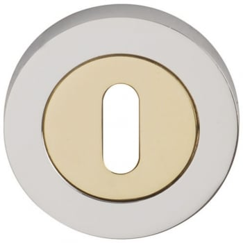 Dale Hardware Polished Chrome/Polished Electro Brass Round Keyhole Escutcheon (Pair) (DH003631)