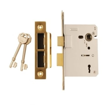 Polished Electro Brass 3 Lever Mortice Dead Lock