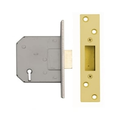 Polished Electro Brass 5 Lever Mortice Dead Lock