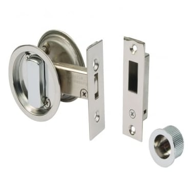 Polished Stainless Steel Round Sliding Door Bathroom Hook Lock (DH002131-PSS)