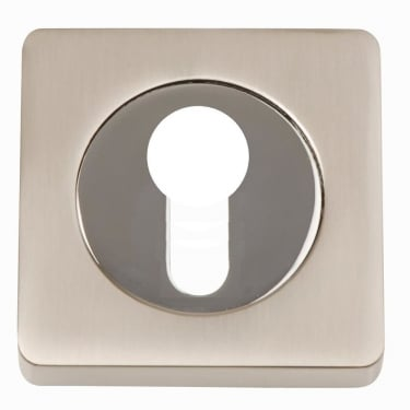 Dale Hardware Satin Nickel/Polished Chrome Square Euro Escutcheon (Pair)