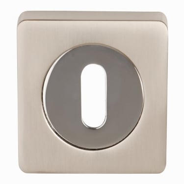 Dale Hardware Satin Nickel/Polished Chrome Square Keyhole Escutcheon (Pair)