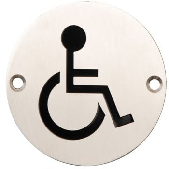 Dale Hardware Satin Stainless Steel 75mm Disabled Symbol Pictogram Disc (DH003794)