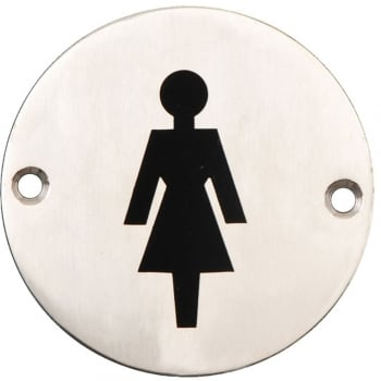 Dale Hardware Satin Stainless Steel 75mm Female Symbol Pictogram Disc (DH003793)