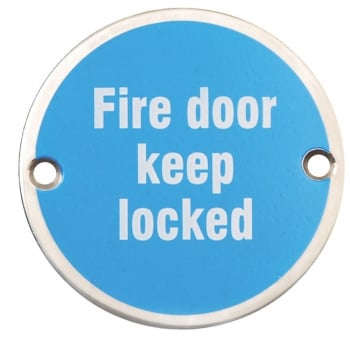 Dale Hardware Satin Stainless Steel 75mm Fire Door Keep Locked Pictogram Disc (DH003791)