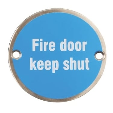 Satin Stainless Steel 75mm Fire Door Keep Shut Pictogram Disc (DH003790)