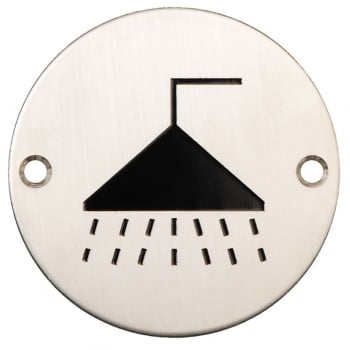 Dale Hardware Satin Stainless Steel 75mm Shower Symbol Pictogram Disc (DH003796)