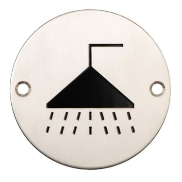 Satin Stainless Steel 75mm Shower Symbol Pictogram Disc (DH003796)