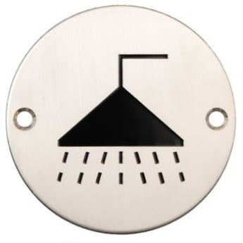 Dale Hardware Satin Stainless Steel 75mm Shower Symbol Pictogram Disc