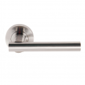Sultan Satin Chrome Lever On Round Rose Handle (DH003689) - Passage Handle (Pair)