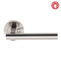Sultan Satin Chrome Lever On Round Rose Handle (DH003689) - Privacy Handle (Pair)