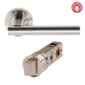 Sultan Satin Chrome Lever On Round Rose Handle (DH003689) - Smart Privacy Handle (Pair)