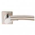 Ultimo Satin Nickel/Polished Chrome Lever On Square Rose Handle (DH003650) - Passage Handle (Pair)