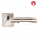 Ultimo Satin Nickel/Polished Chrome Lever On Square Rose Handle (DH003650) - Privacy Handle (Pair)