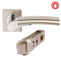 Ultimo Satin Nickel/Polished Chrome Lever On Square Rose Handle (DH003650) - Smart Privacy Handle (Pair)