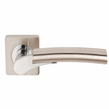 Ultimo Satin Nickel/Polished Chrome Lever On Square Rose Handle (DH003650)